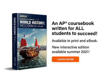 Image: AP World Historycover. Text: Available in print and ebook, interactive coming summer 2021